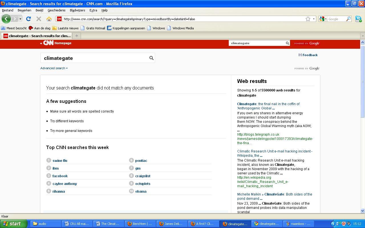 Geen hits bij CNN in sterk contrast tot het aantal hits bij zoekmachines, zie de balk rechts.