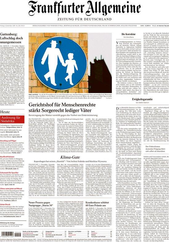 Climategate op de voorpagina van de Frankfurter Allgemeine Zeitung