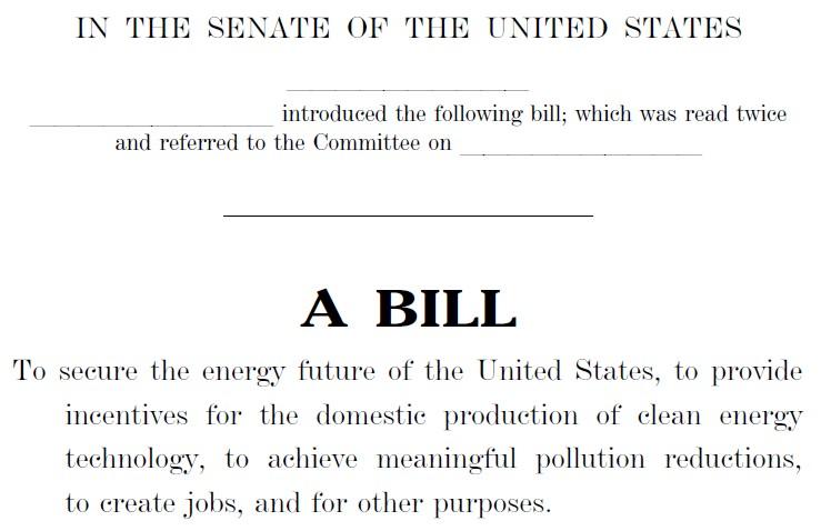 De Kerry-Lieberman klimaatwet van 987 pagina's