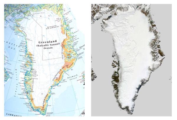 De gewraakte veel te groene kaart van Groenland