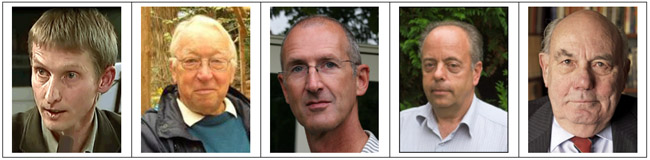 De sprekers op het symposium: Marcel Crok, Dick Thoenes, Theo Wolters, Bas van Geel en Arthur Rörsch