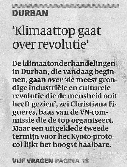 Volkskrant 28 november 2011 op pagina 6