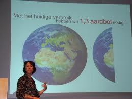 Louise gebruikt de ecologisch én ecologisch onzinnige Ecologische Voetafdruk bij praatjes