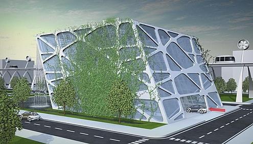 Parkeergarage metelektrische auto's als energiebron met volstrekt nutteloos futurtistish design  metvolstrekt