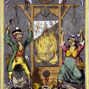 Spotprent naar volkse atheisten die religie willen vermoorden eind 18de eeuw