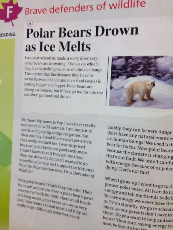 .. Al Gore klimaatpaniek in schoolboeken VWO Engels. Er zijn gewoon ook ijsberen met pech