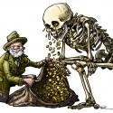 Cartoonist Frank Muntjewerf zijn interpretatie van Natuurbegraven door Natuurmonumenten cs