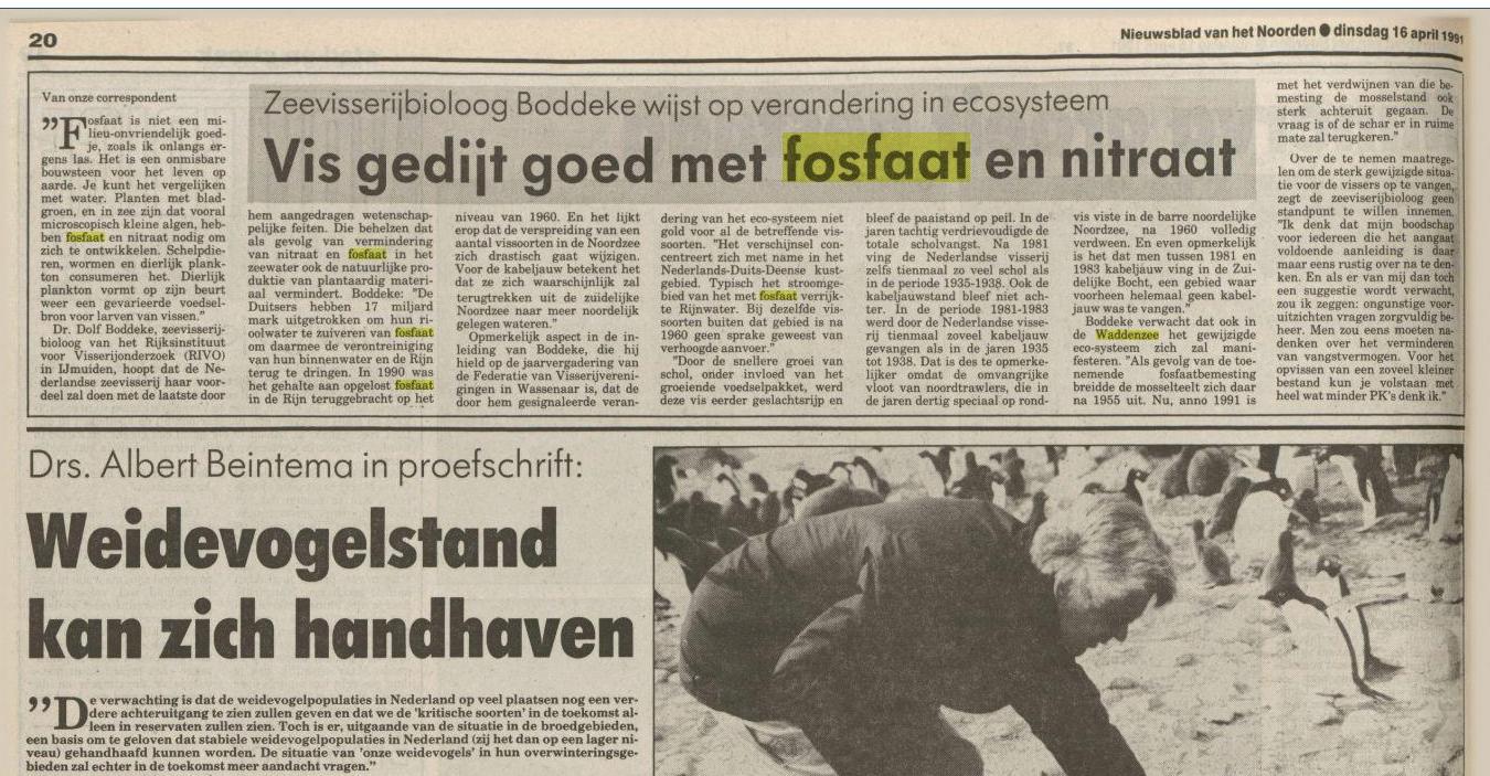 16 april 1991 NB vh Noorden: bioloog Dolf Boddeke voorspelt al snel dalende bestanden schelpdieren en Vis
