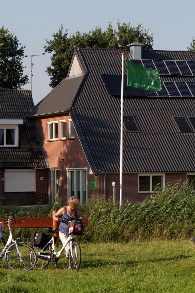 De groene overwinningsvlag van Staatsbosbeheer: de club viert de overwinning van de woeste natuurontwikkeling op de rede
