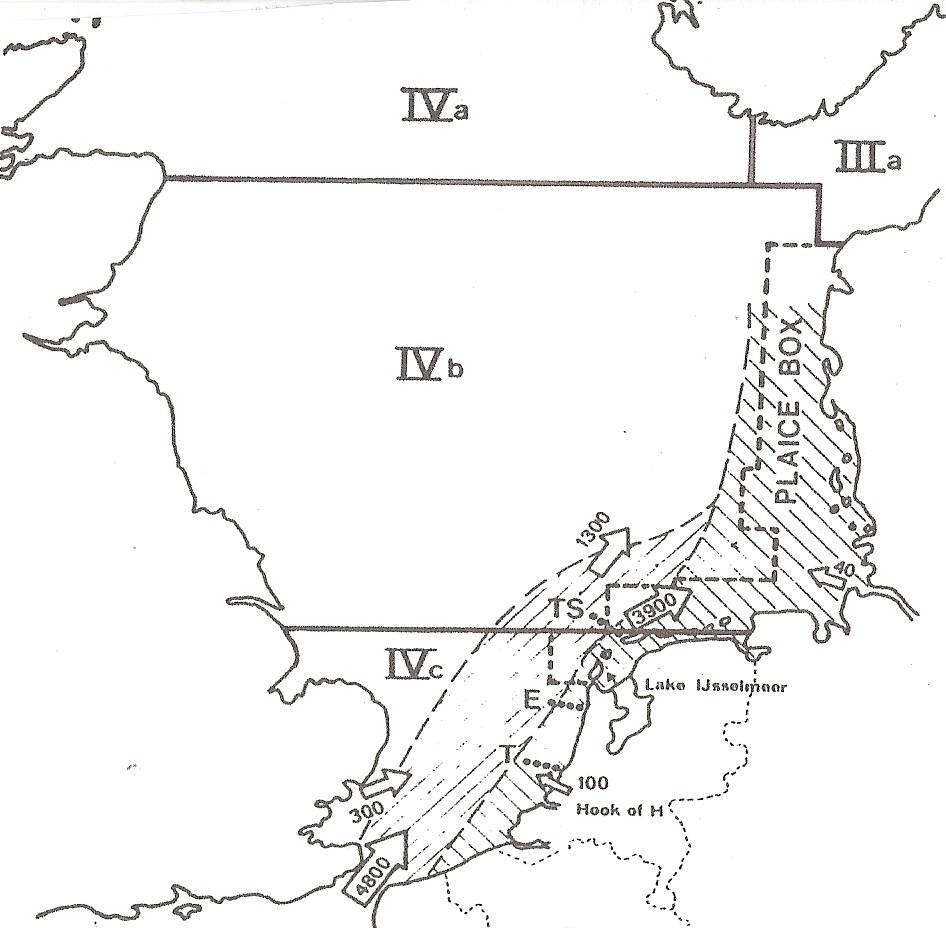 Hydrologische situatie in de Z.O. Noordzee. De pijlen geven de watermassa´s aan in km3. Terheyde, T, Egmond,E en Terschelling, TS zijn monstertrajecten. De gearceerde lijn geeft de scholbox aan, de blokken a/d de verschillende scholpopulaties