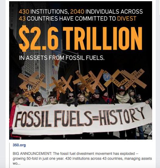 Milieurealisme orthodoxe stijl. Activisten die met gebruik van fossieie energie tegen fossiele energie protesteren, deze facebookpost werd gemaakt met toetsenbord gemaakt met fossiele brandstof. Maar morgen is dat allemaal voorbij.