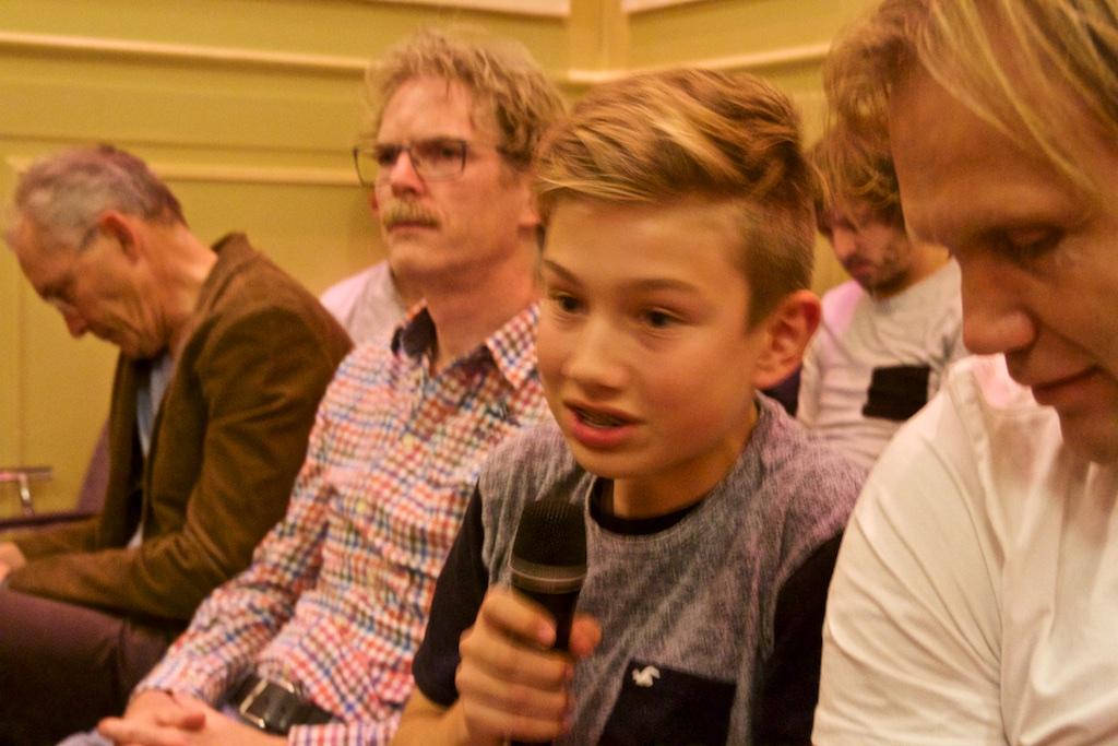 De jongste debatdeelnemer van de zaal, Tim!