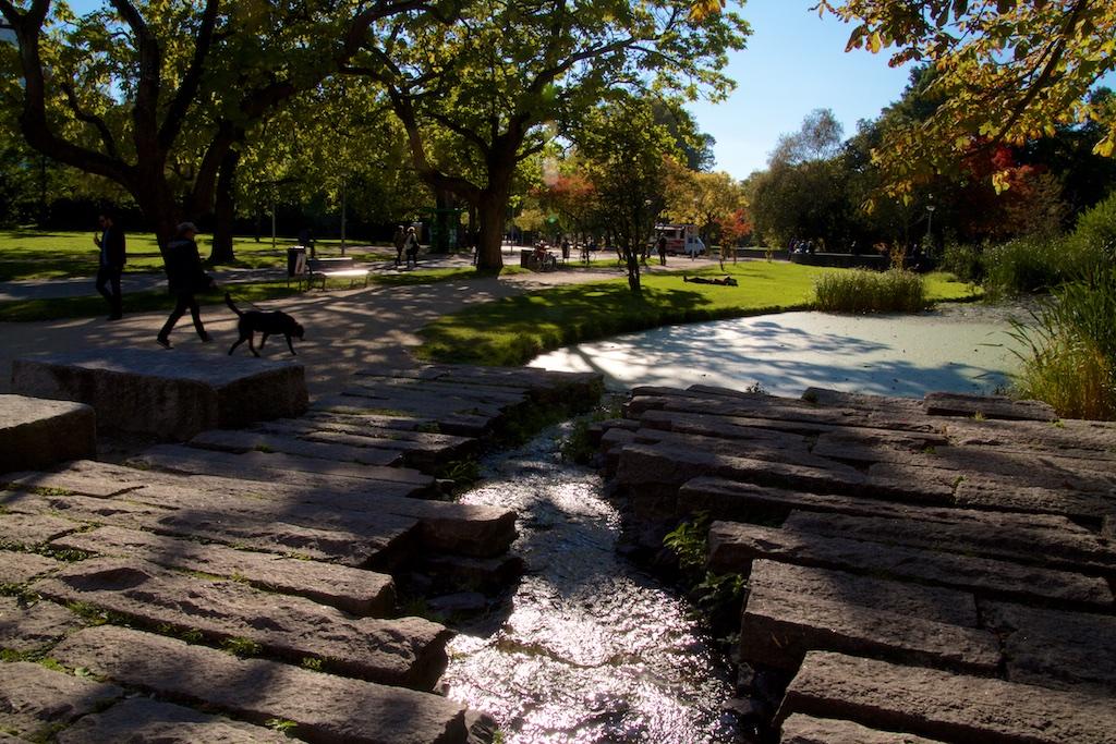 Vondelpark: Urbane wildernis met kunstrivier badend in licht van Alte Weibensommer