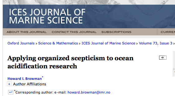 Het ICES Journal of Marine Science wijdt een themanummer aan de meest opgeblazen hoax in de mariene biologie: Oceaanverzuring