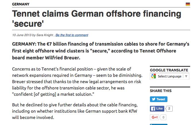 IN 2013 al twijfels over liquiditeit Tennet. Dat losten ze op door co-financiers/schadeclaimers te vinden