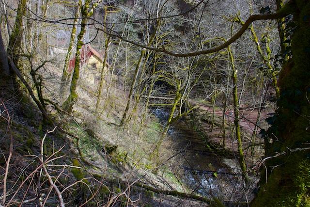 De Burgmuhle bij de Gauach, die mond verderop uit in de Wutach