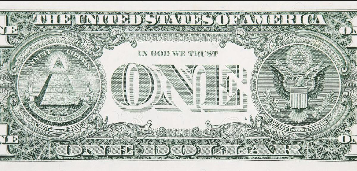 Geld regeert: het 1 dollar-biljet met het pyramide-symbool. Het topstukje symboliseert de 'hogere kennis' die niet voor de onderkant beschikbaar mag zijn.