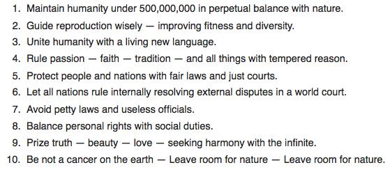 De 10 geboden van ecofascisten. Na de Grote Ingreep mogen nog 500 miljoen mensen op aarde leven