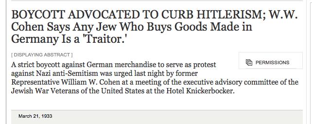 Een week VOOR de Duitse boycot van Joodse winkels.....die was reactie op de Joodse boycot van Duitsland, die in Amerika succes kreeg