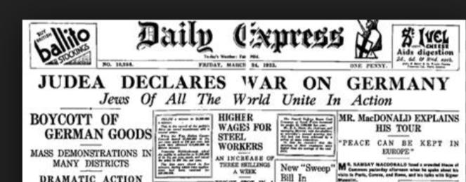 Samuel Untermeyer publiceerde in de New York Times op 7 augustus een toespraak met oproep tot 'Heilige Oorlog' tegen de Duitsers, omdat ze Hitler democratisch hadden gekozen....