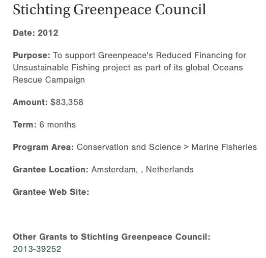 1 van de vele donaties van de Rockefeller bankiers/olieboeren aan Greenpeace