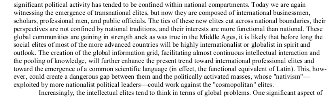 Brzezinski (1969) blz 27 in 'Between two Ages', America in the Technetronic Age