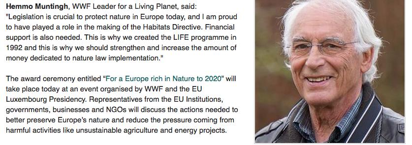 Als dank voor zijn inspanningen beloont Bilderberg/Club van Rome/WWF hem met een Leader'-titel