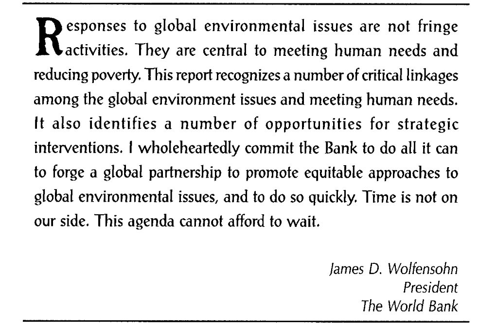 Wanneer de Wereldbank bezorgd over 'biodiversiteit' gaat doen, kunnen mens en natuur zich bergen....