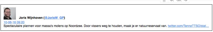 Joris 'Sla mij alsjeblieft' van Wijnhoven moet deze industrialisering van de Noordzee over de rug van vissers een groen randje geven. Greenpeace is geldspeculant, die 56 miljoen euro investeerde in waardedadling van de euro