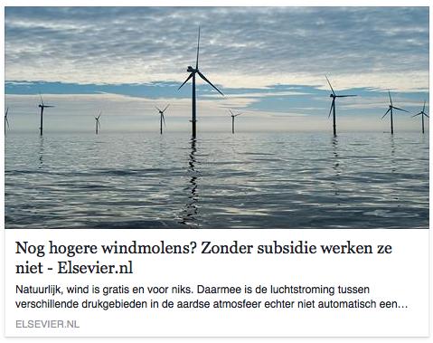Geen mening maar constatering. Zonder subsidies zou er geen enkele windmolen worden gebouwd