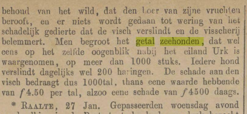 De Zwolsche Courant van 30 januari 1872 over het zeehondenprobleem van Urk