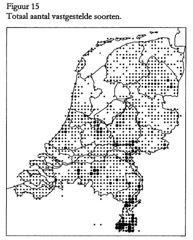 Screenshot voorlopige Atlas bijen 1998. Zwaartepunt soortenrijkdom ligt in het warmere Zuid Limburg