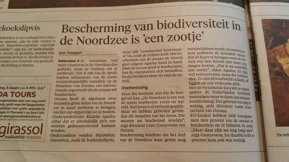 Oceana liegt in de kranten weer iets over 'overbevissing' terwijl de belangrijkste bestanden voor onze vissers op gezond niveau liggen