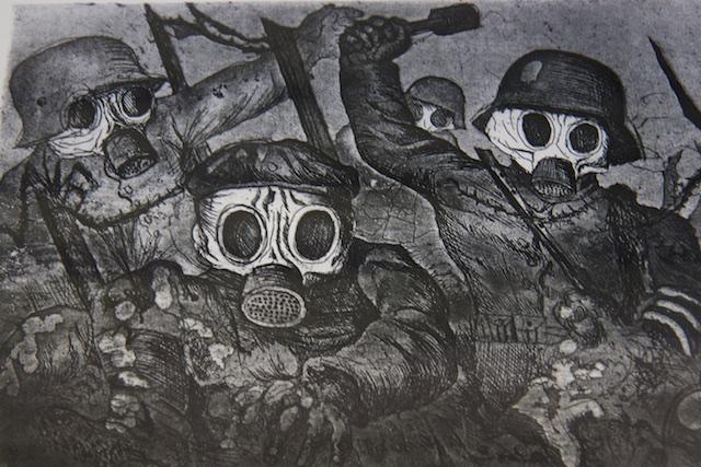 Impressionistische ets van Otto Ditz in het Historial in Peronne, een hand tot handgevecht in een loopgraaf