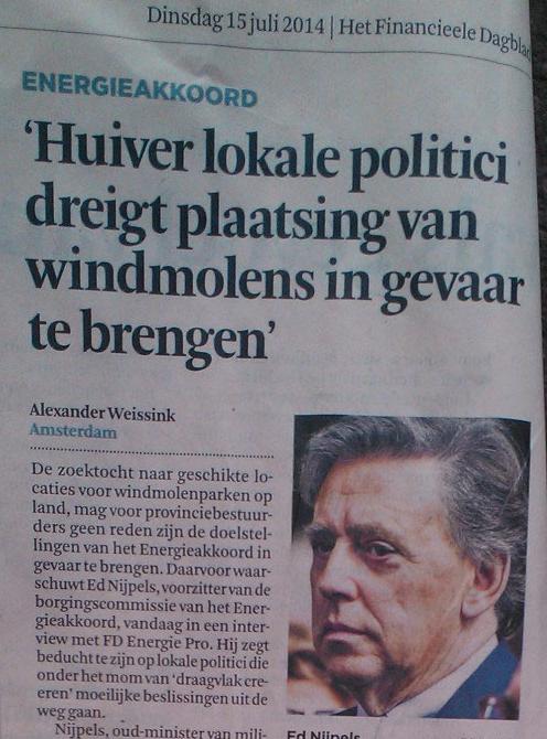 Even krom staan voor Ed Nijpels, laat dat maar over aan het Financieele Dagblad, het corrupte advertentiekrantje van de corporatocratie