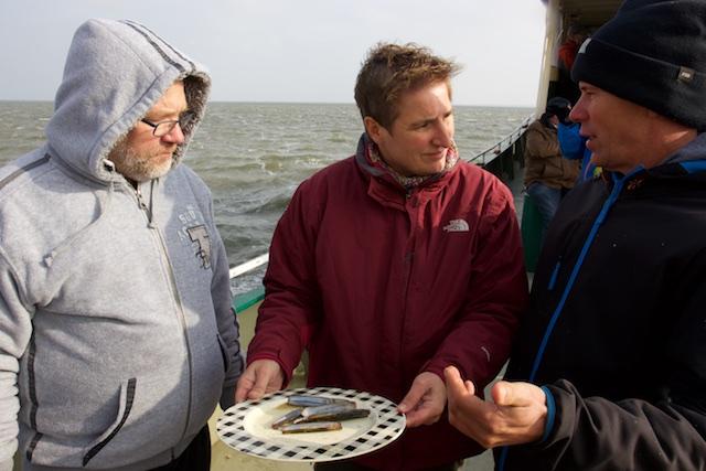 Opdienen van mesheften, met vissers Dirk Koster, Herman Blom en Karin Zegwaard van SBB