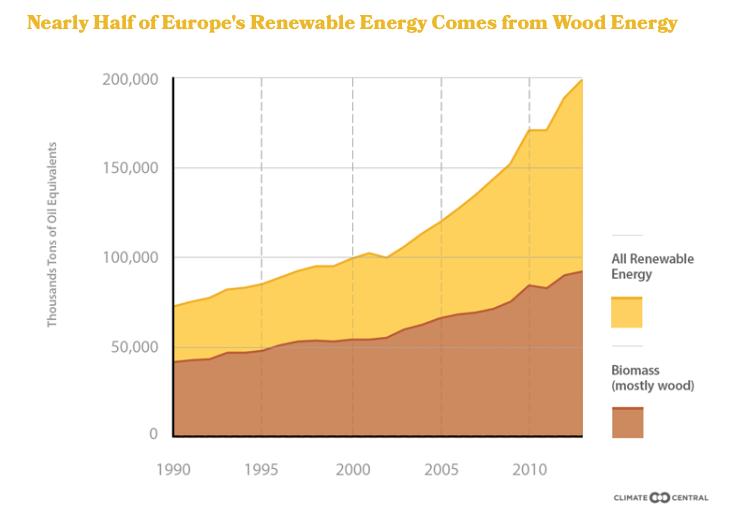 De helft van het Europese 2020-doel wordt gehaald met het stoken van bos