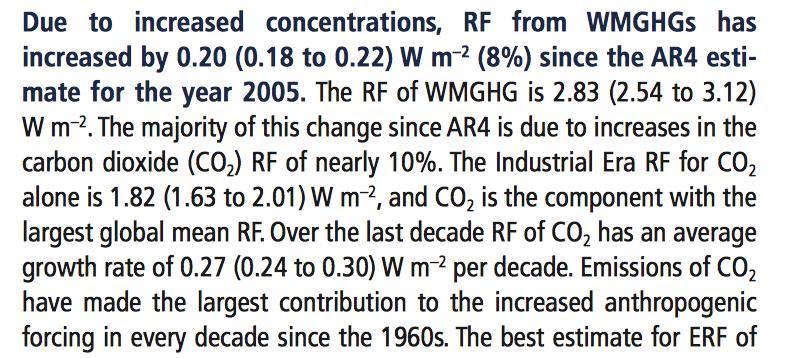 We zien bij IPCC AR5 een uiteenlopende schatting voor hoeveel RF er dankzij onze CO2 is bijgekomen