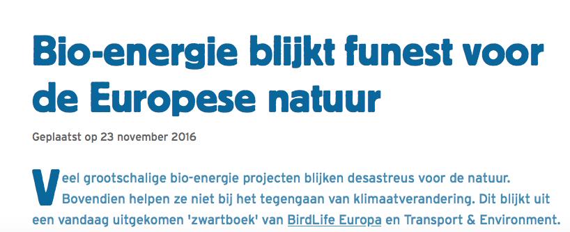 Persbericht 23 november Vogelbescherming/Birdlife: Hoezo hypocriet? De eigen voorzitter bouwt zelf die centrales als Eneco-commissaris