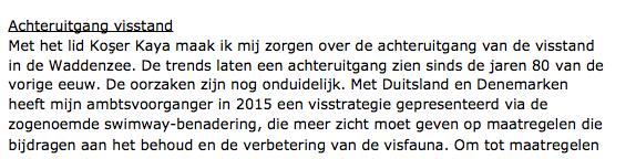 Martijn van Dam op 6 december in Tweede Kamer. Het 'mysterie' van de visstand, zonder de zeehond te noemen