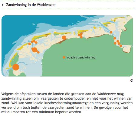 Bron Ecomare: zij baseren zich op de eigen rapporten van overheid over zandwinning