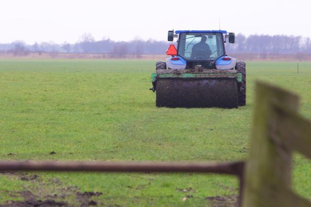 ...ook de boer gaat met z'n tijd mee en haalt alle singels weg, de grasmat moet beter dan bij Ajax