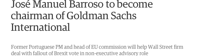 Ook bij Goldman Sachs in het kabinet