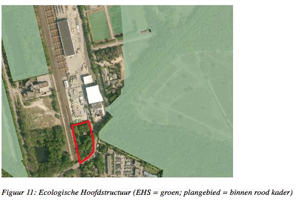 Industrie plompverloren tussen EHS-gebied (groen). GAD wil nu het rood omcirkelde natuurterrein ook nog tot industreiterrein maken...
