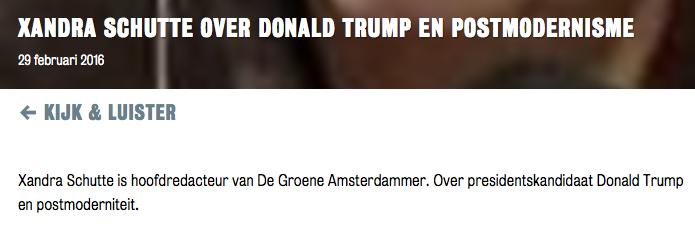 Oh god nee heh, daar is'ter al weer eentje met een mening over Trump