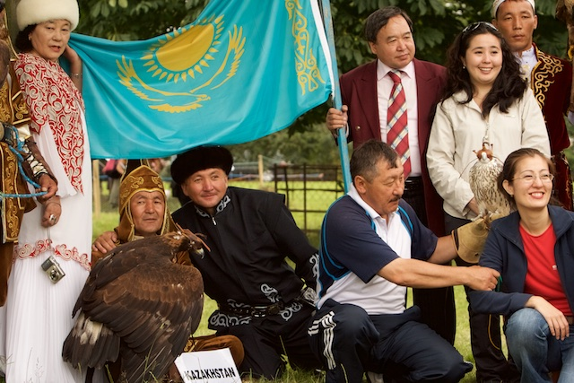 ...totemdier in de vlag van Kazachstan